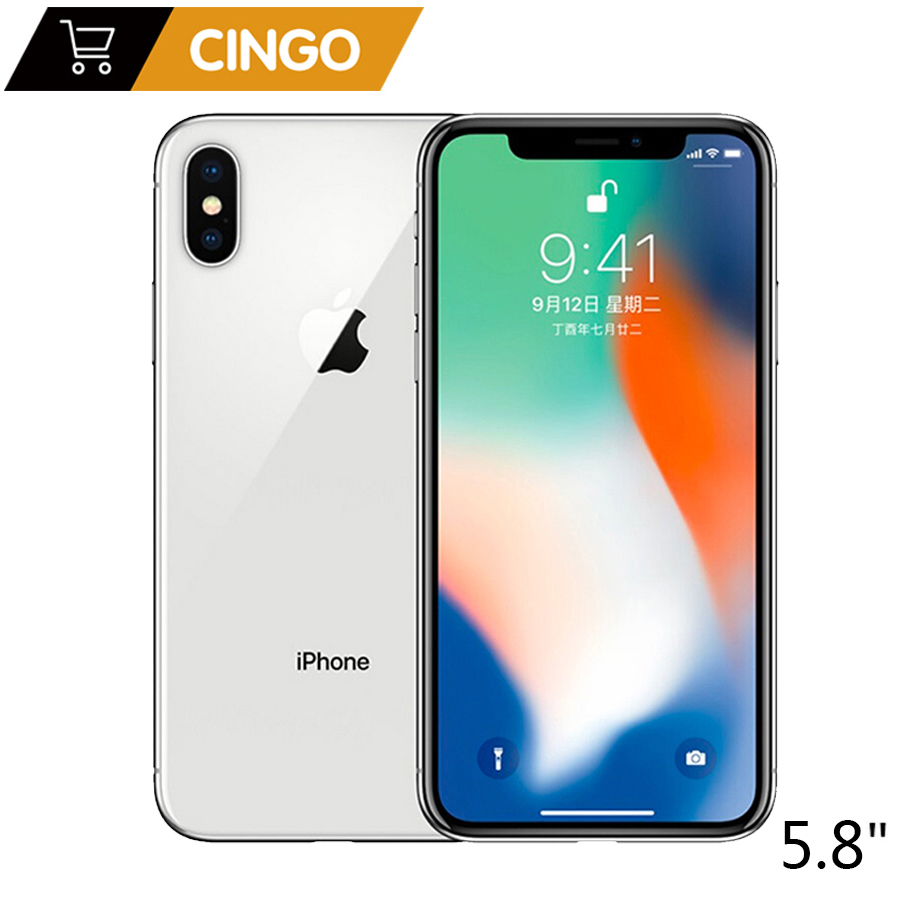 "Original Apple IPhone X 3GB RAM 64GB 256GB ROM 5.8"" IOS Hexa Core 12.0MP Dual Back Camera Unlocked 4G LTE Mobile Phone"