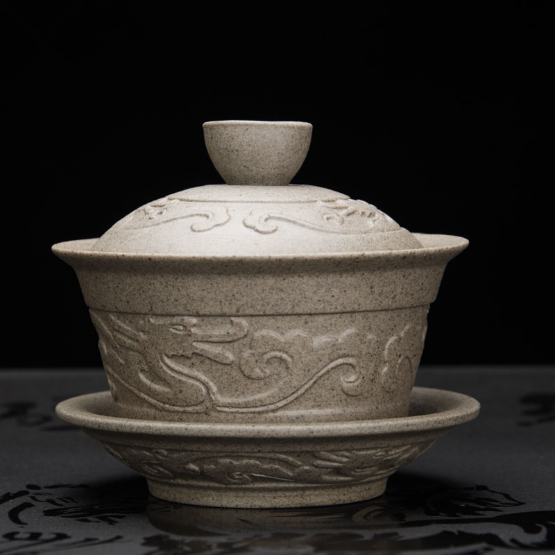 Handmade Dragon Porcelan Tureen Gong Fu Tea Bowl