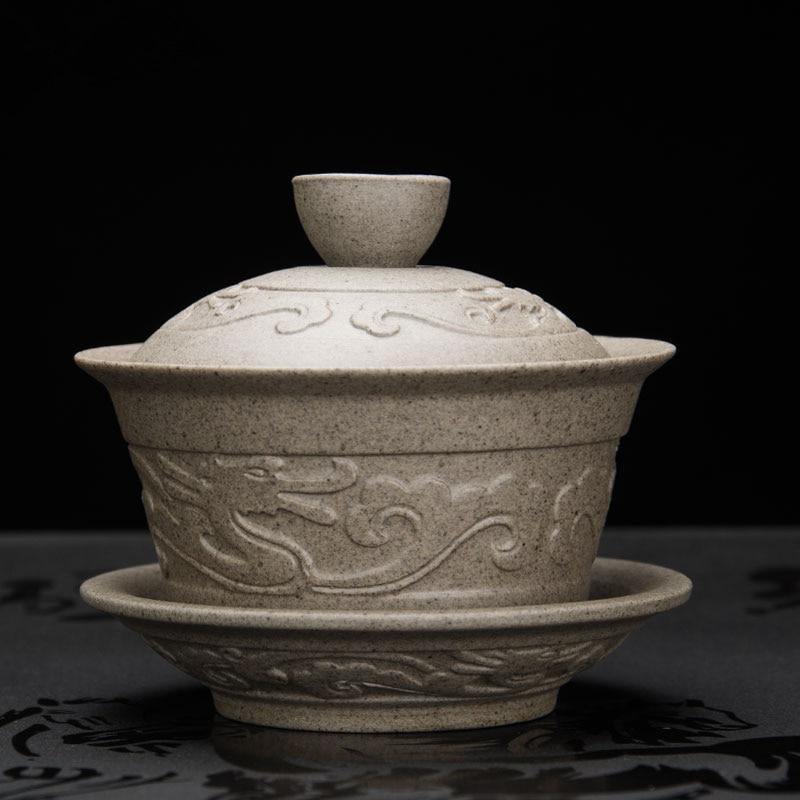 Handmade Dragon Porcelan Tureen Gong Fu Tea Bowl