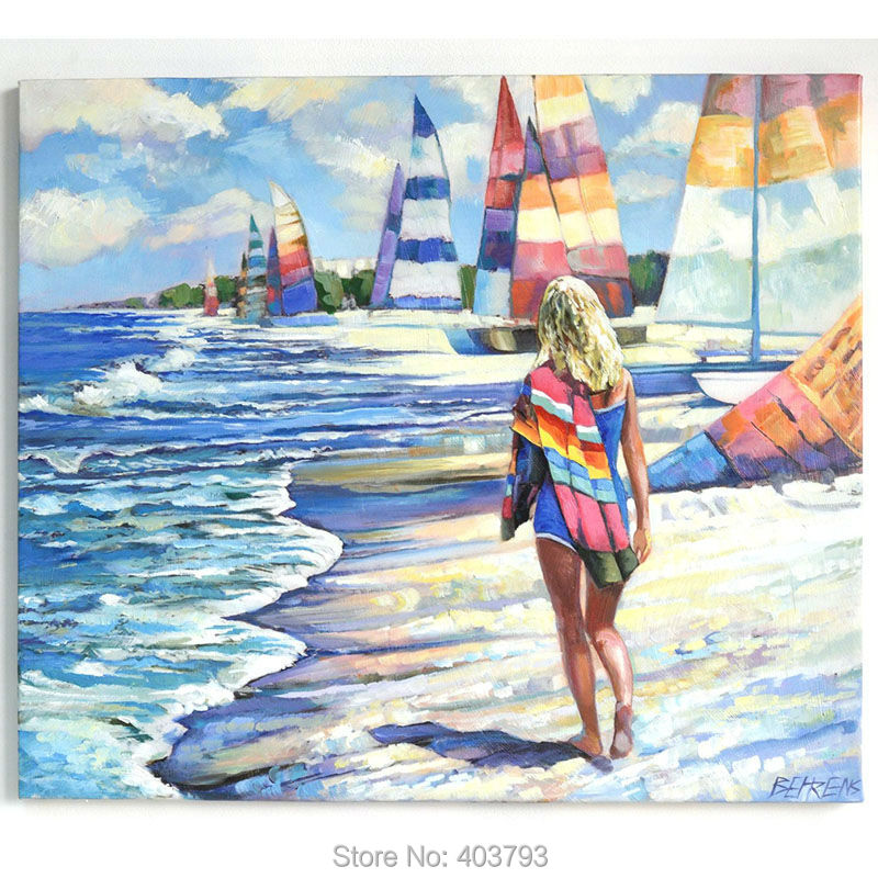 Hand painted oil painting Girl on the beach 70x60cm With love from California Christmas Gift Canvas Art For Living Room