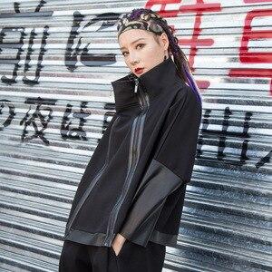 Image 4 - מקסימום לולו סתיו אופנה קוריאני סגנון גבירותיי פאנק Streetwear נשים שחור עור טלאי מעיל רוכסן בציר גולף מעיל