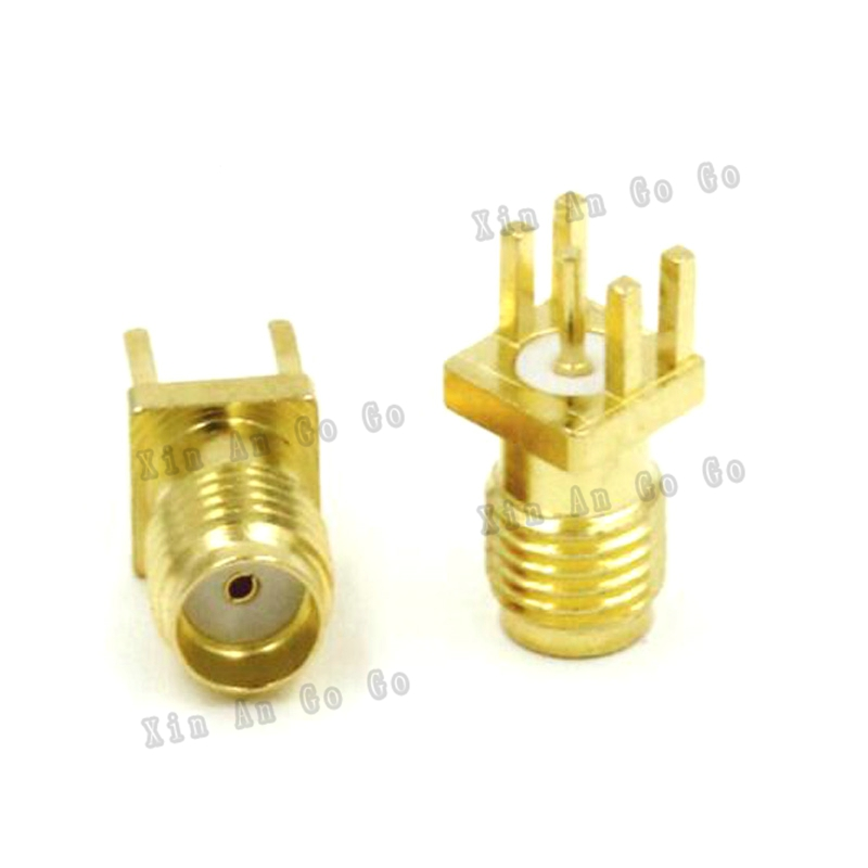 RP-SMA Female Solder Edge 1.6mm PCB Receptacle Clip Mount RF Adapter Connector