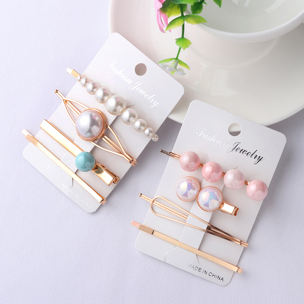 4pcs Korea Fashion Women Metal Hairpins Imitation Pearl Colorful Beads Hair Clips Irregular Geometric Hair Styling Accessories(China)