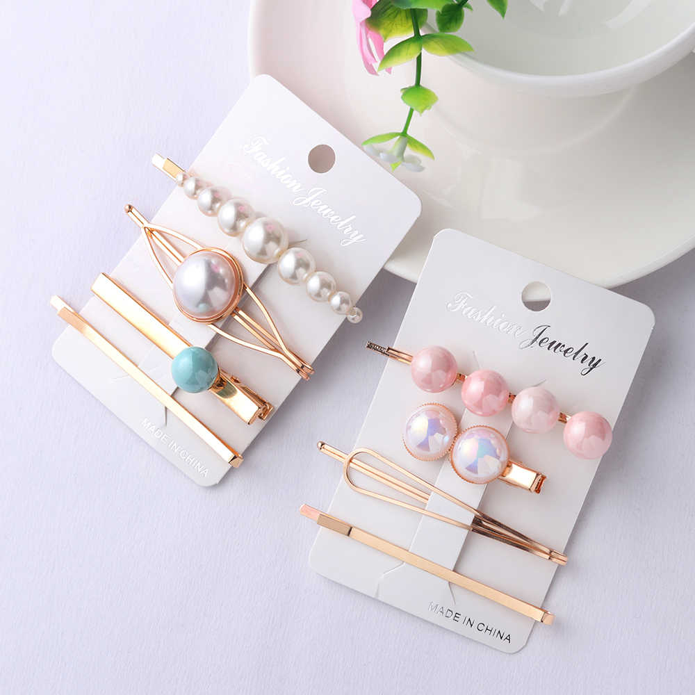 4pcs Korea Fashion Women Metal Hairpins Imitation Pearl Colorful Beads Hair Clips Irregular Geometric Hair Styling Accessories