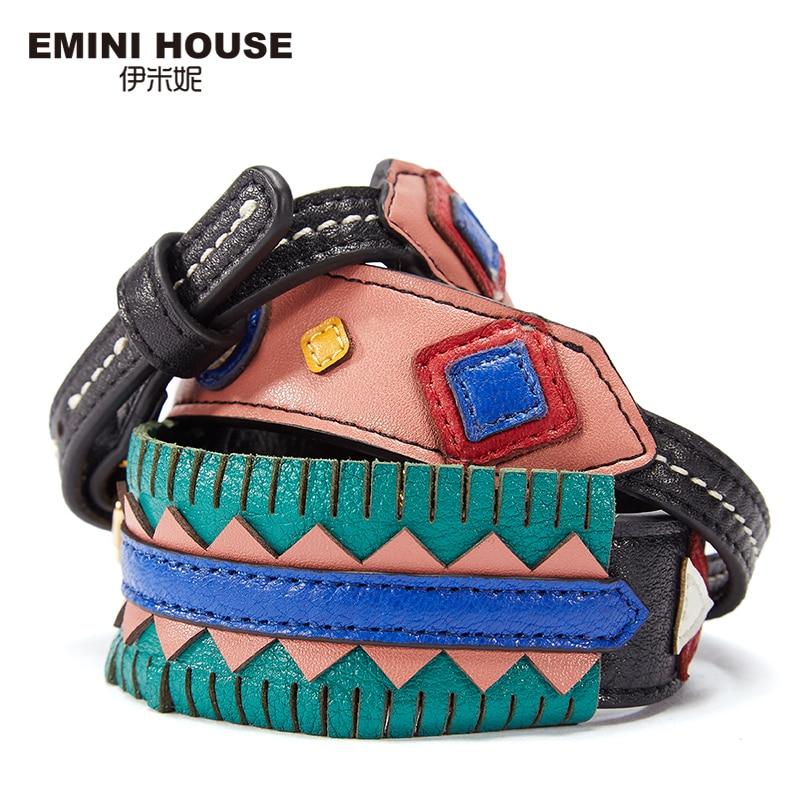 EMINI HOUSE Indian Style Shoulder Strap Original Split Leather Women Bag Strap Adjustable Belt Length 114-123cm Width 4cm