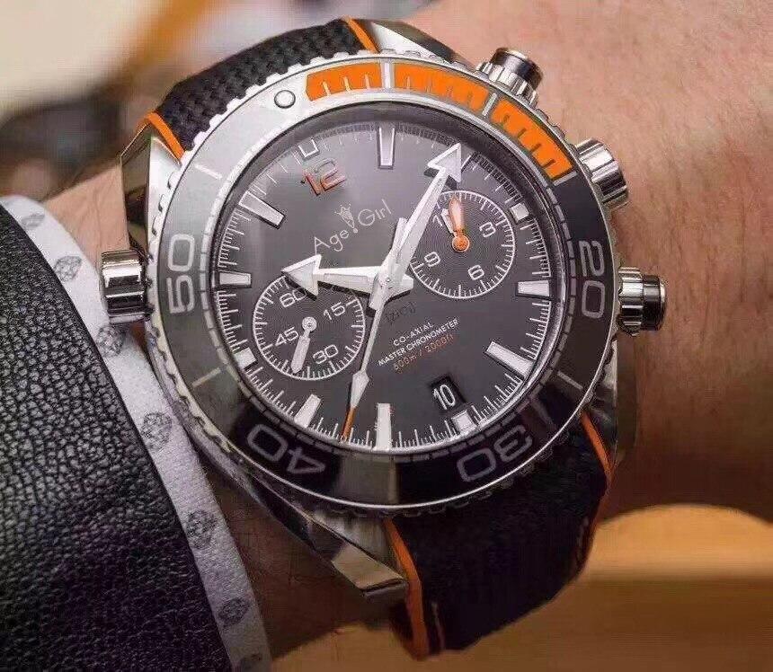Элитный бренд Новый 007 для мужчин Professional спортивные часы модные Нержавеющая Сталь Оранжевый Черный Серый Хронограф сапфировое стекло AAA +