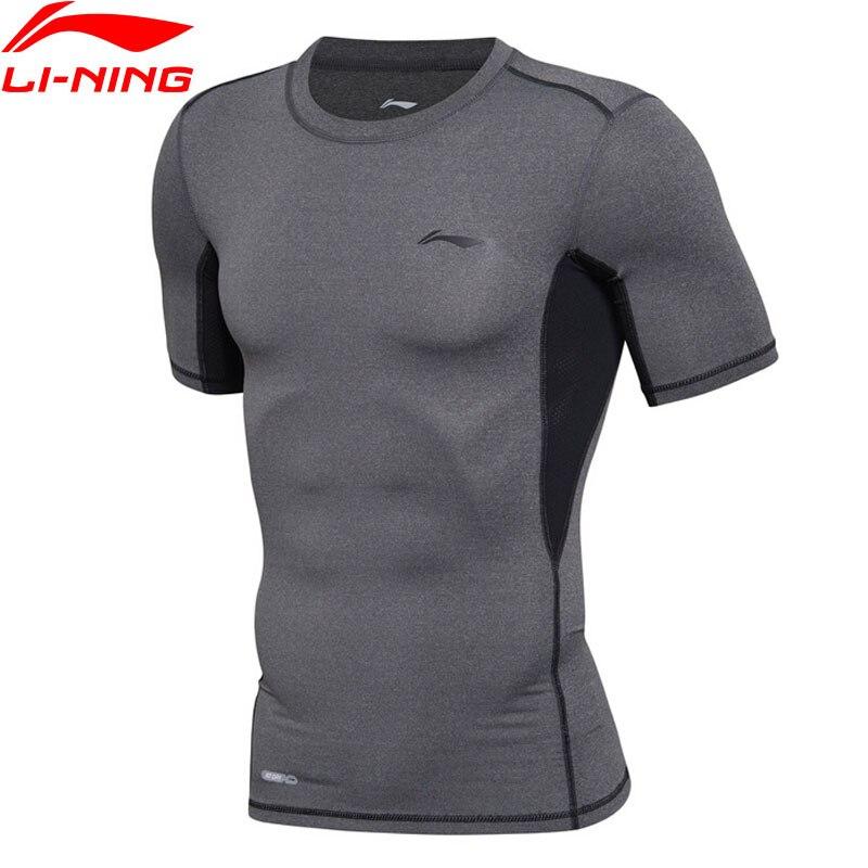 Li-Ning Hommes de Formation T-Shirt À SEC 88% Polyester 12% Spandex Doublure Respirant Sport Tee Tops AUDM037 MTS2655