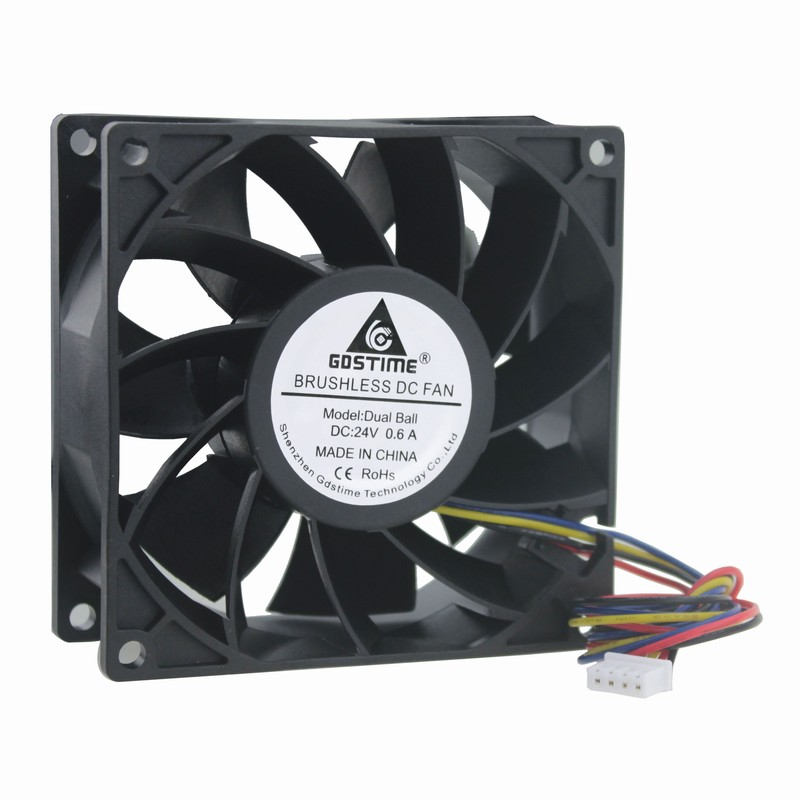 1 Piece Gdstime 24V Dual Ball Bearing Big Airflow Four Wire 4 Pin 9cm DC Brushless Fan 92mm x 38mm Computer Cooling Fan 90x90mm original delta afb0912shf 9032 9cm 12v 0 90a dual ball bearing cooling fan page 1