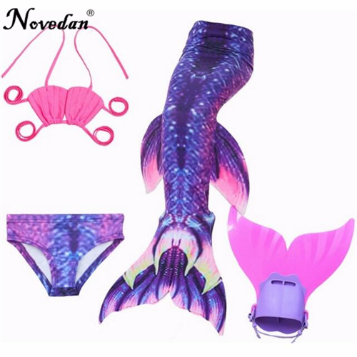 4PCS/Set Girl's Mermaid Tails For Swimming Costume With Monofin Kids Zeemeerminstaart Cola De Sirena Cauda De Sereia Cosplay