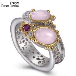 DreamCarnival 1989 New Arrived Two Tones Color Wedding Engagement Rings for Women Oval Pink Opal Hot Pick Chic Jewelry WA11667