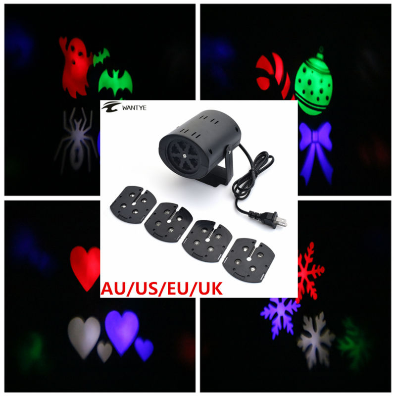 Christmas Laser Projector LED Party Light DJ KTV Bar Rotating Mini Stage Lighting Heart Snow Spider Bat Landscape Lights christmas heart snowflake halloween spider bowknot projector lights led stage lamps