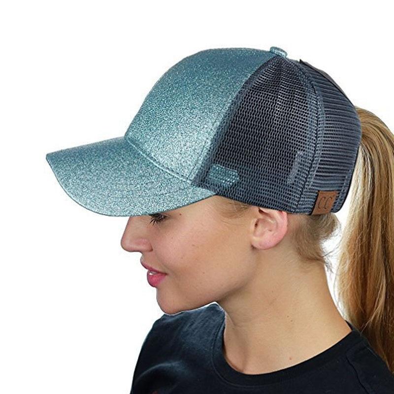 2019 Glitter Ponytail Baseball Cap Women Snapback Hat Mesh Trucker Sports Caps Messy Bun Summer Hats Female Adjustable Hip Hop