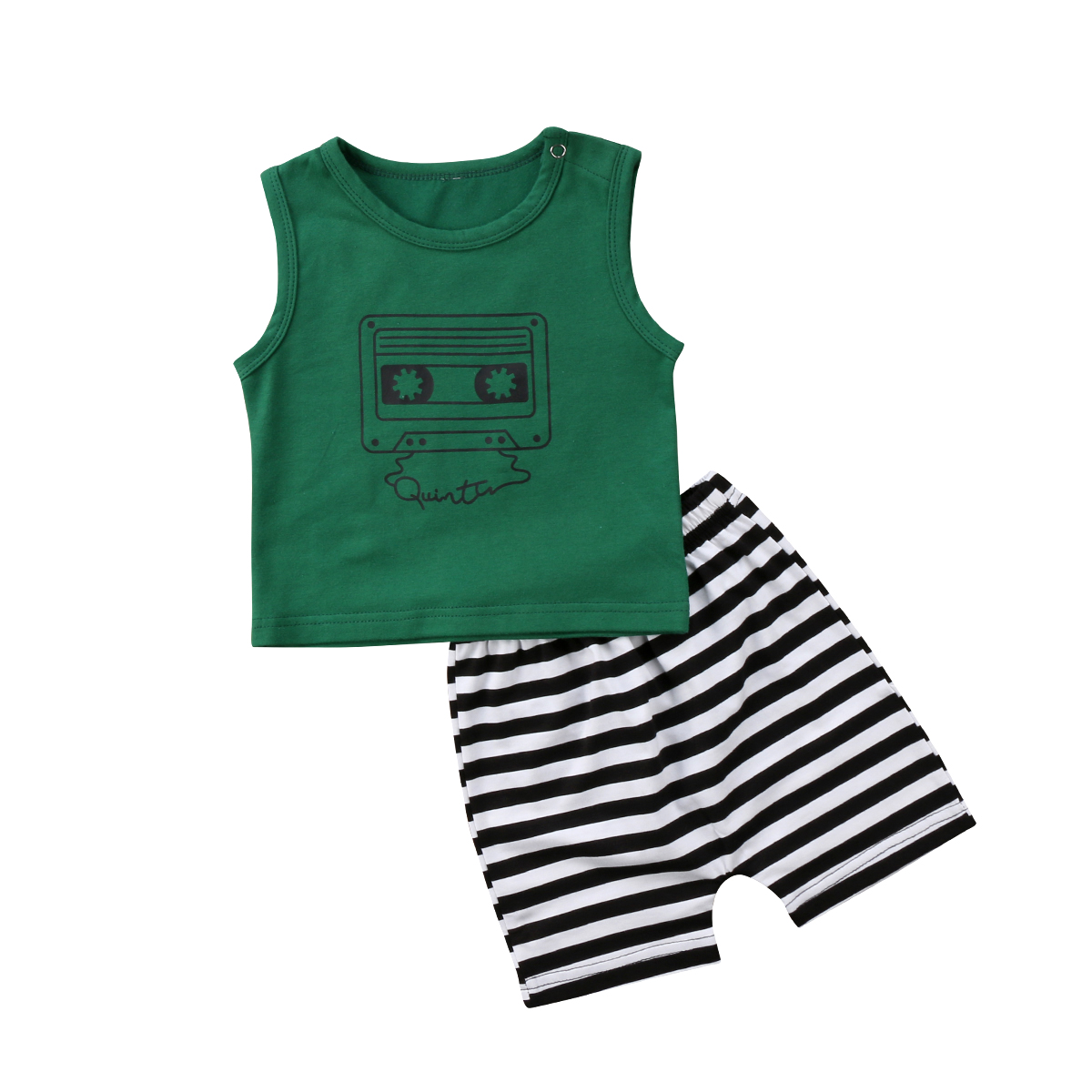 2pcs Newborn Baby Boys Girls Kids Green Sleeveless T-shirt Tops+ Short Black White Striped Pants Trousers Outfit Clothes Set newborn baby kids boys tops cool letter printing i do what i want sleeveless t shirt vest short pants 2pcs outfits set clothes