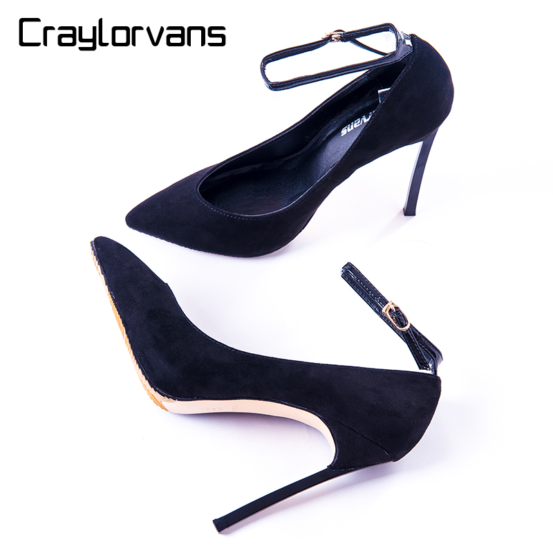 Craylorvans  Ankle Strap Wedding Pumps Classical Shoes Women Sexy Spring Autumn High Heels Faux Suede Party Black Big size 43 siketu 2017 free shipping spring and autumn women shoes high heels shoes wedding shoes nightclub sex rhinestones pumps g148