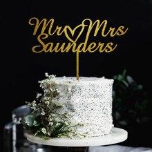 Mr& Mrs с сердцем персонализированные Свадебный торт Топпер на заказ фамилия торт топперы для Свадебный акриловый юбилей торт Топпер