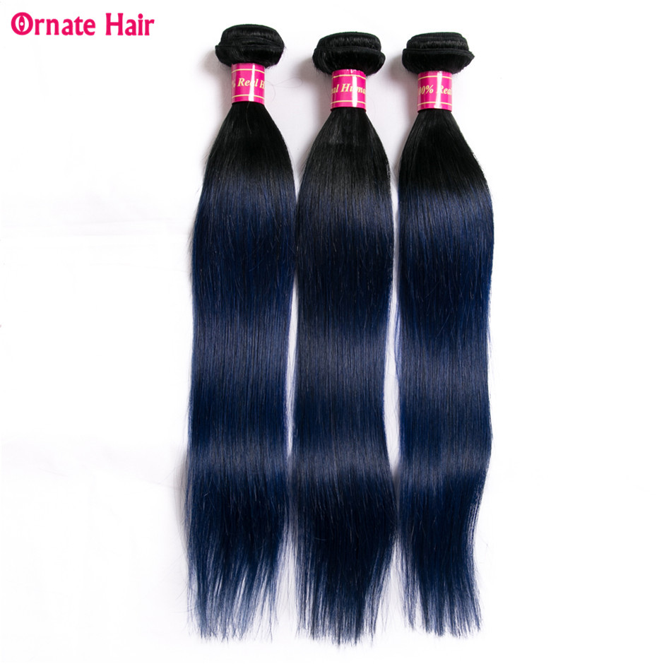 Ornate Straight Hair 3 Bundles Peruvian Hair Extension Two Tone Human Hair Weave 12 24 Inch