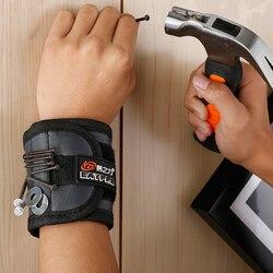Poliéster pulseira magnética portátil ferramenta saco eletricista ferramenta de pulso cinto parafusos unhas brocas titular ferramentas reparo