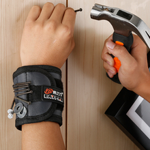 Купить с кэшбэком Polyester Magnetic Wristband Portable Tool Bag Electrician Wrist Tool Belt Screws Nails Drill Bits Holder Repair Tools