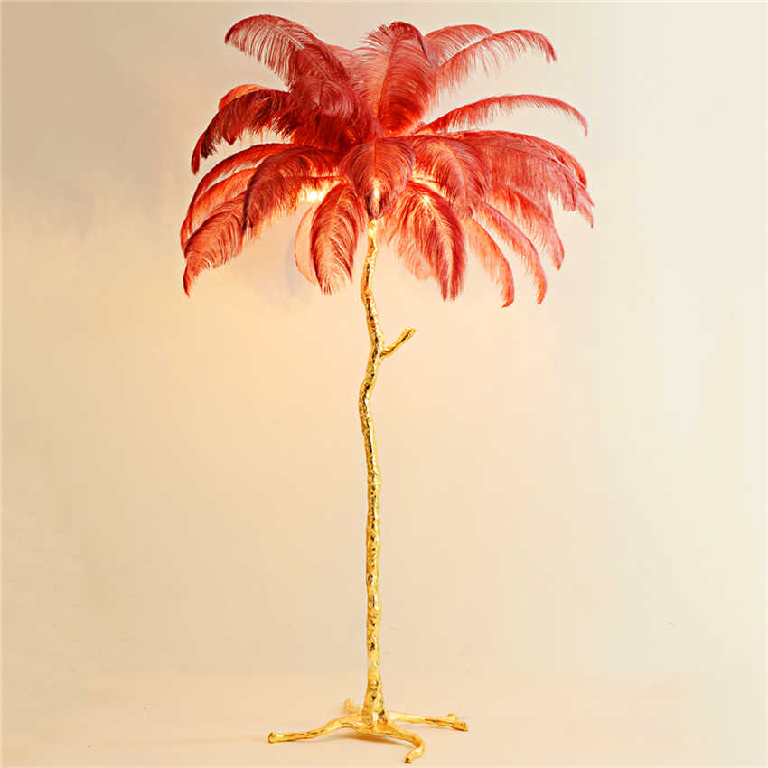 Modern Led Floor Lamp For Living Room Ostrich Feather Gold