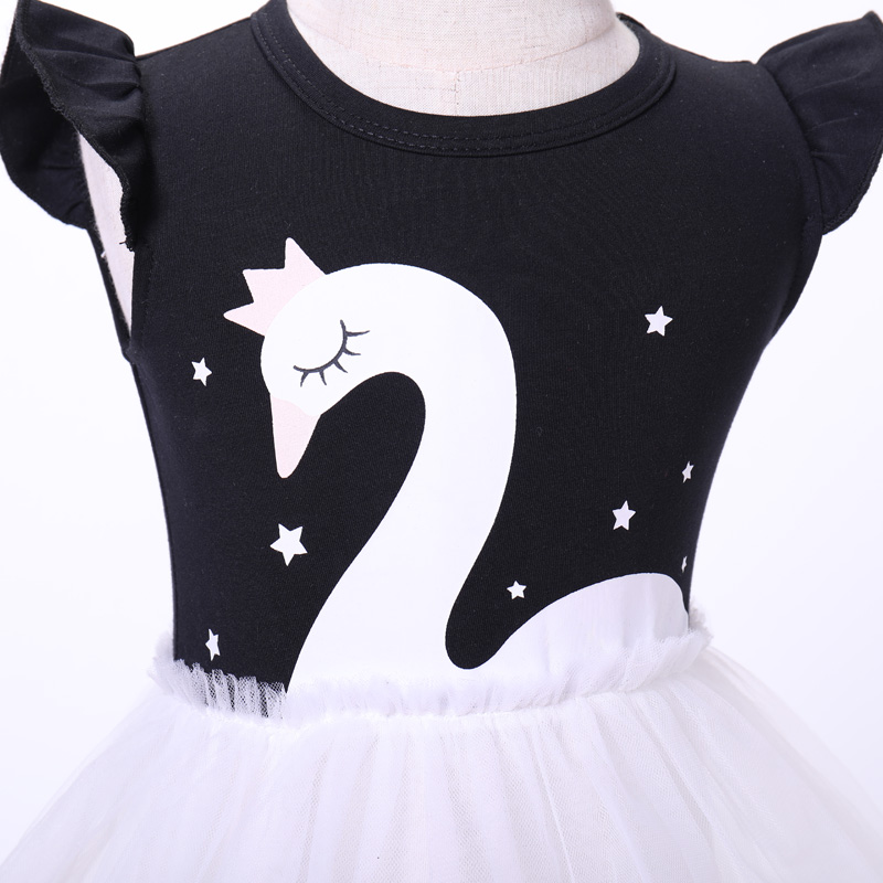 695183ac709 Summer birthday dress European and American style embroidery cap sleeve  swan printing cotton tulle simple baby girls party dress