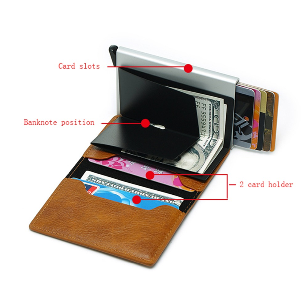 Back To Search Resultsluggage & Bags New Men Double Aluminum Cow Leather Travel Card Wallet Rfid Credit Card Holder Pu Leather Unisex Security Metal Smart Purse 486 Convenience Goods