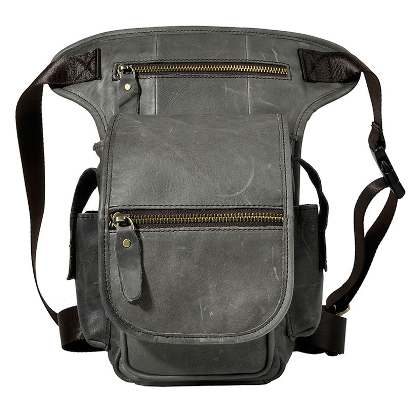 Vintage Natural Genuine Leather Casual Travel Leg Thigh Bag Men's Waist Pack Shoulder Messenger Bags Cell Phone Case Cover