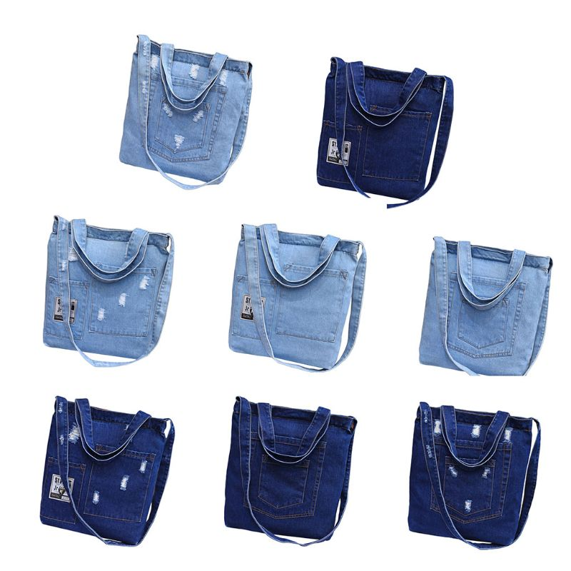 Premium Jean Cross body Bag Street Style Shopping Bag Canvas Handbag Cowgirl Moussy School Books Bag Casual Totes Shoulder Bag in Shoulder Bags from Luggage Bags