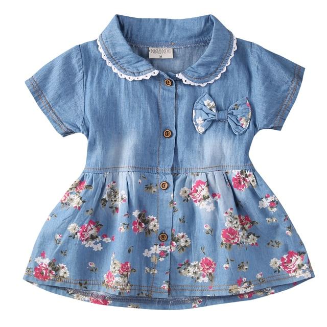 ebc6519c4 Autumn New Flower Girl Summer Princess Denim Jean Dress Kid Baby ...