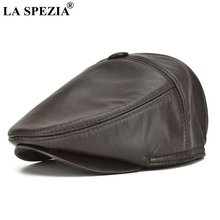 LA SPEZIA Brown Flat Caps Men Genuine Cowskin Leather Berets Male Solid Fitted Directors Cap Vintage Winter Brand Duckbill Hats
