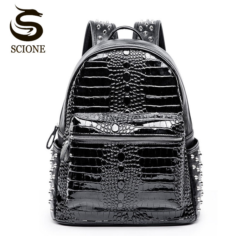 Men PU Leather Backpack Crocodile Pattern School Backpacks for Teenagers Double Shoulder Bag Black Laptop Rucksack Travel Bags voyjoy t 530 travel bag backpack men high capacity 15 inch laptop notebook mochila waterproof for school teenagers students