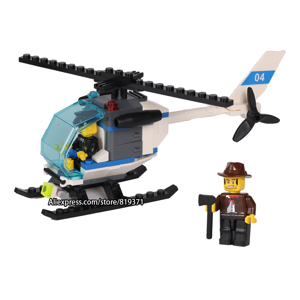 City Series Helicopter Surveillance Building Blocks Policeman Models Toys For Children Boy Gifts LegoeINGlys 26017