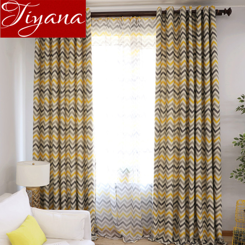 Striped Curtains Yellow Wave Gray Window Bedroom Tulle Curtains For Living Room Drapes Kitchen Sheer Fabrics Treatment T&275 #30