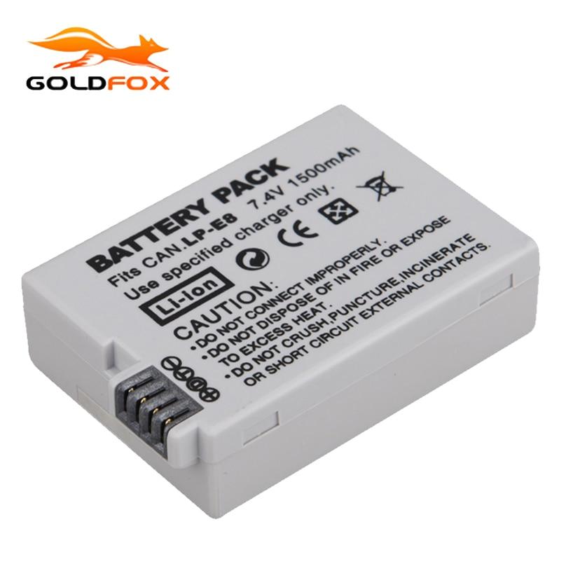 1Pcs 7.4V 1500mah LP-E8 LP E8 LPE8 Digital Camera Battery For Canon EOS 600D 650D 550D 700D T4i T5i Rebel T2i