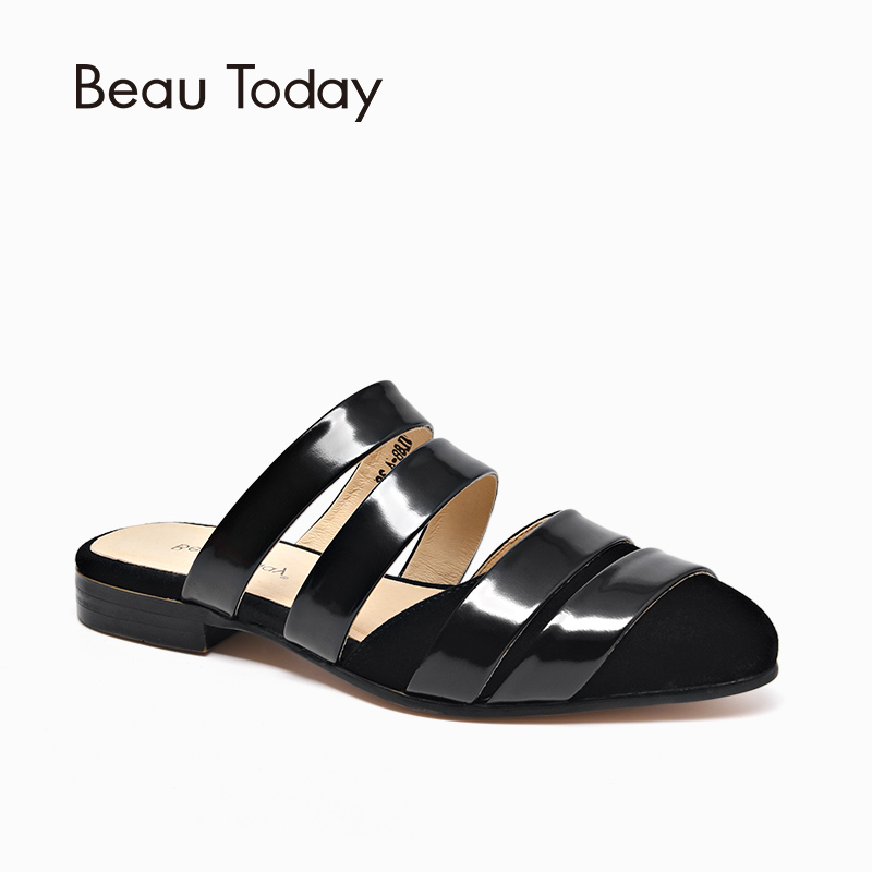 BeauToday Women Mules Kid Suede Geniune Leather Open Heel Twine Design Pointed Toe Summer Flat Shoes Handmade 36051 pointed toe flat mules