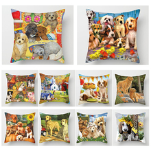 Fuwatacchi Animal 3D Print Throw Pillow Covers Polyester Cute Loverly Dog Sofa Home Decor Accessories Case Cushion Cover