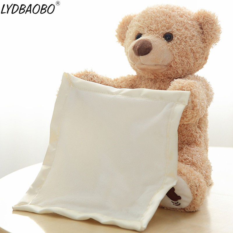 1PC 30cm Peek A Boo Elephant Bear Stuffed Animals Plush Doll Play Music Elephant Educational Anti