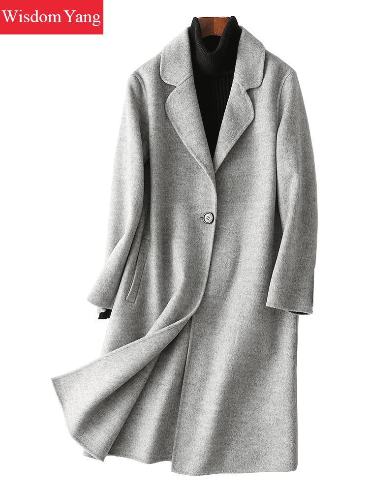 Зимнее серое бежевое пальто с длинным рукавом из овечьей шерсти aplate 2018 пальто женское тонкое темно серое Xlong оверсайз шерстяная Верхняя оде
