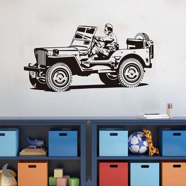 High Quality Modern Style A Driver Cartoon Army Car Wall Sticker Living Room Vinyl Home Decoration