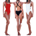 2017 Women One Piece Swimsuit Bikini Backless Hollow Out Cross Strap Padded Swimwear Beachwear White/Black/Red