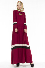 New Muslim Womens Kaftan Dress O-Neck Long Sleeve Floor-Length Islamic Abaya Malay Dubai Saudi Arabia Style Jilbab Hijab Dresses