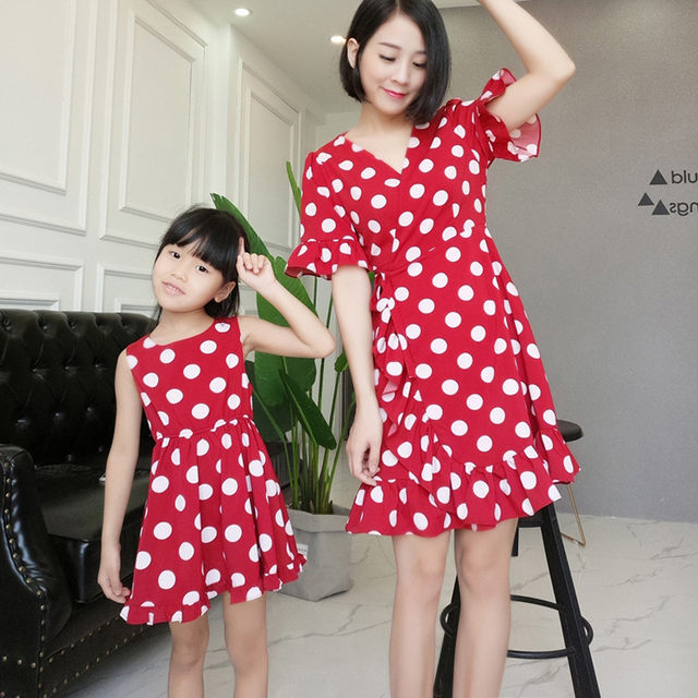 Fashion Red Spot Mother Daughter Dress  Slim Dress Family Matching Outfits New Summer Red Matching Mom Daughter Dresses