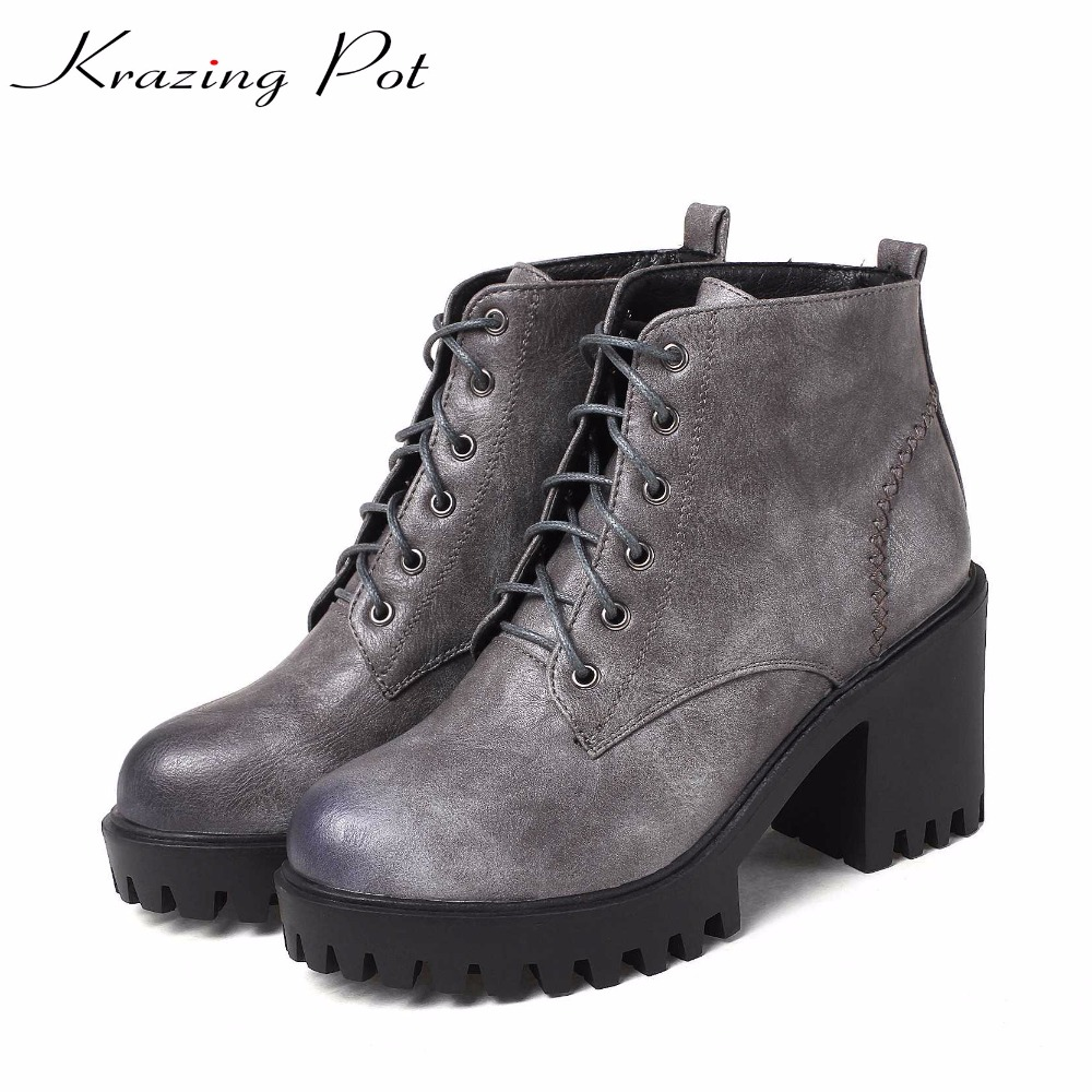Krazing Pot 2018 PU gladiator streetwear platform winter lace up font b boots b font superstar