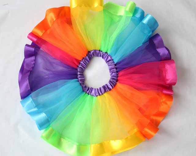 2017 Hot Kids Lovely Handmade Colorful Tutu Skirt Girls Rainbow Tulle Tutu Pettiskirt Dance Bubble Skirt 4-9T