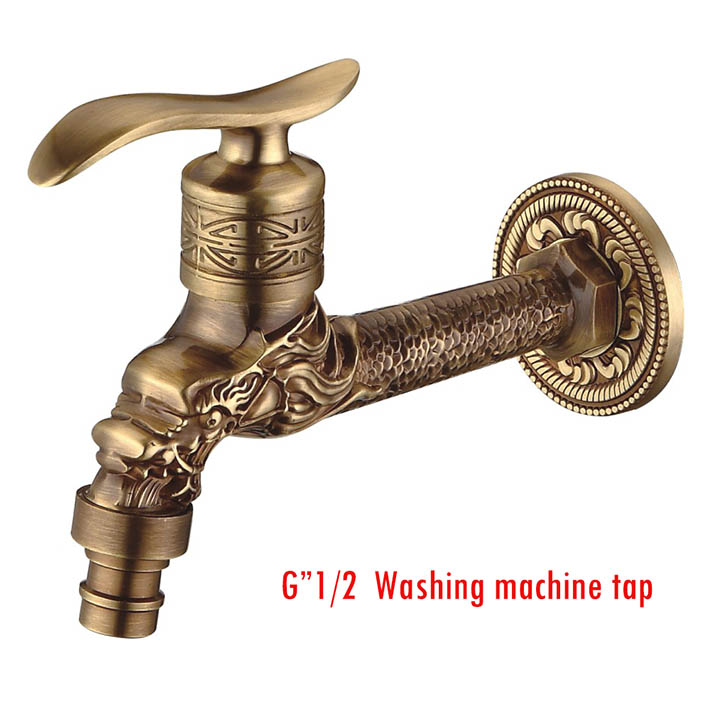 Cheap Sale Antique Bronze Dragon Carved Tap Animal Shape Faucet Garden Bibcock Washing Machine Faucet Outdoor Faucet For Garden Yt-5157-b Home Improvement Bathroom Sinks,faucets & Accessories