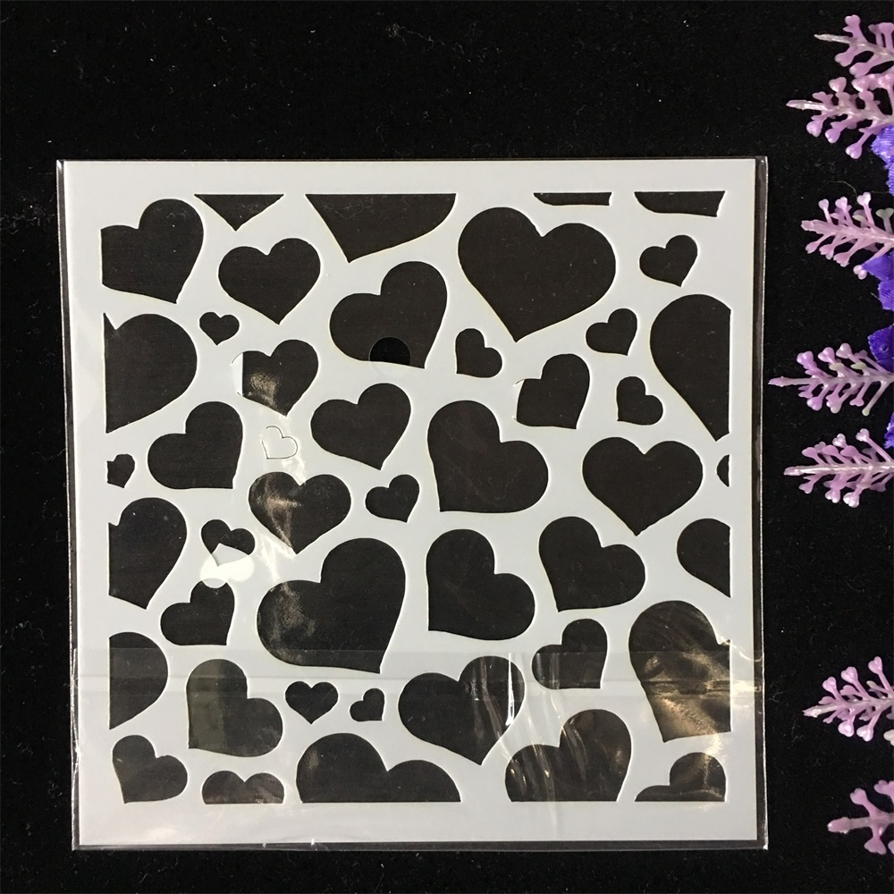 New 13cm Love Heart Texture DIY Layering Stencils Wall Painting Scrapbook Coloring Embossing Album Decorative Template