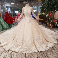 YuNuo 2019 new design wedding dresses with watteau train long sleeve lace up back bride dress wedding gown big bow sm 11288