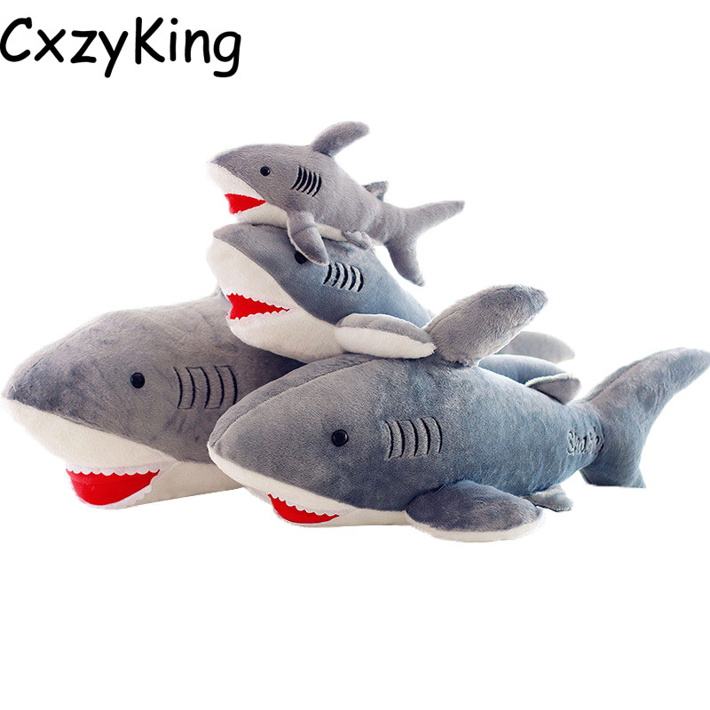 CXZYKING 45cm Plush Toys Shark Doll Birthday Present Sea World Soft Plush Cute Animal Gift Children Toy 1pcs 22cm fluffy plush toys white eyebrows cute dog doll sucker pendant super soft dogs plush toy boy girl children gift