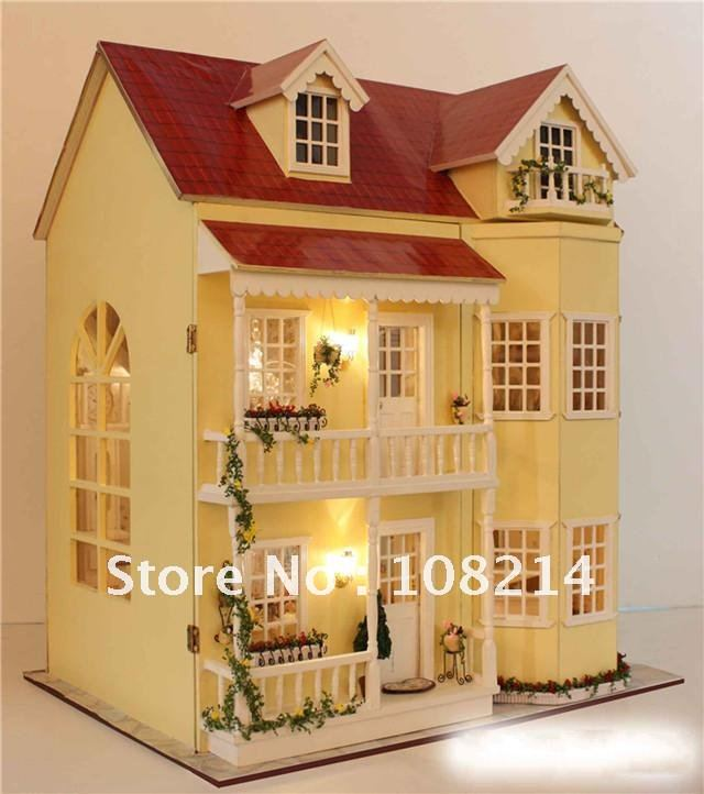 DIY Dollhouse, Light Doll House,Baby Toy ,wooden