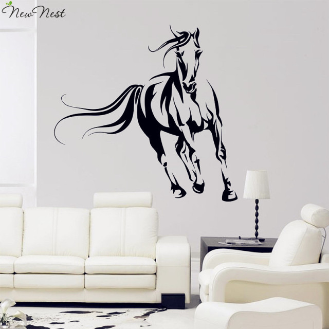 Elegant Wild Horse Wall Decal Vinyl Stickers, Animals Mural, Horse Running Wall Art  Home Decor