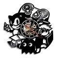 Винтажные виниловые настенные часы современный дизайн игровая тема Sonic the Hedgehog CD часы 3D настенные часы украшение дома 12 дюймов